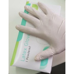 LATEX EXAMINATION GLOVES WITH SENSITIVE POWDER