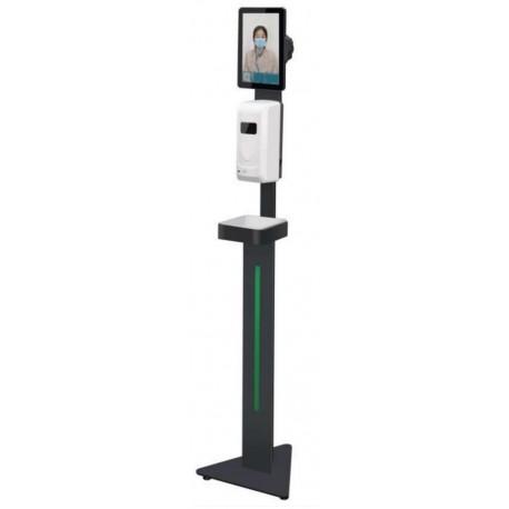 Dispensador automático com suporte de chão e com medição de temperatura